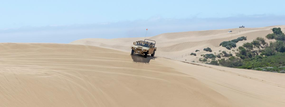 An OHV explores Oceano Dunes State Park in Oceano, CA