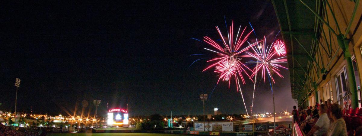 Fireworks at Hammons Field in Springfield, Missouri.