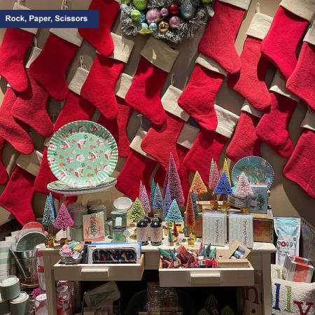Rock, Paper, Scissors holiday display
