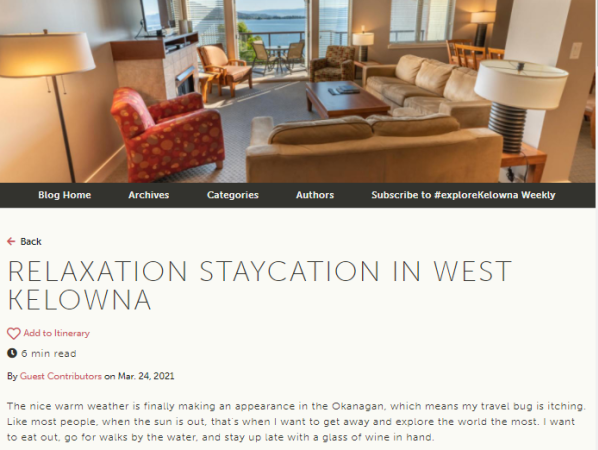 Screenshot of Staycation Blog Post