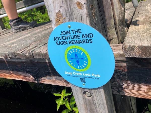 Paddle the Peake Location Sign Deep Creek Lock Park