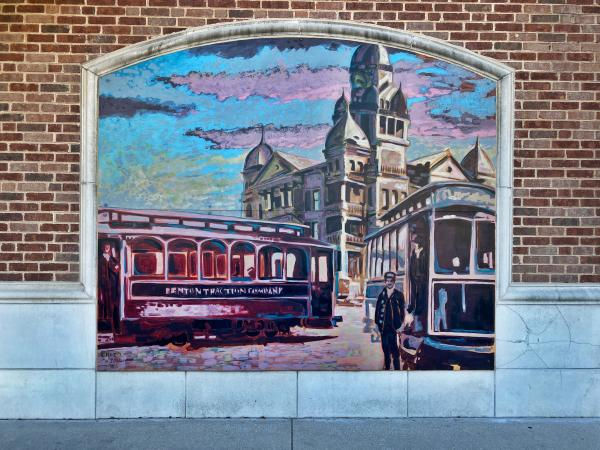 Courthouse Watercolor Mural in Denton, TX