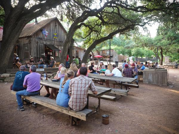 Luckenbach Texas Picker's Circle under Historic Oak Trees