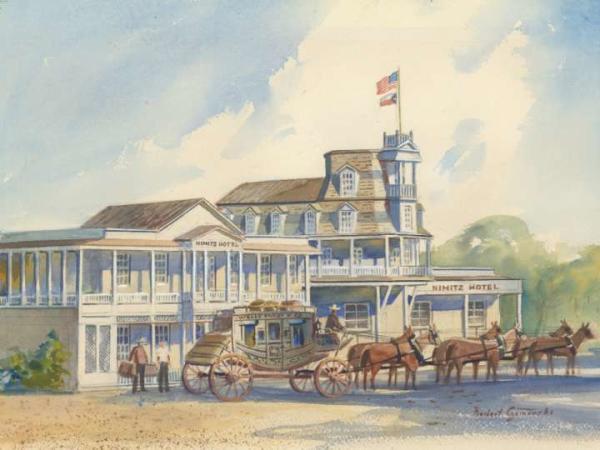 Watercolor of Admiral Nimitz Hotel in Fredericksburg