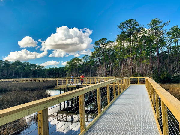 Boardwalk over the bayou in Shepard State Park