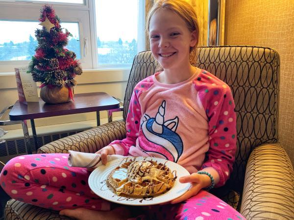 Ava with waffle