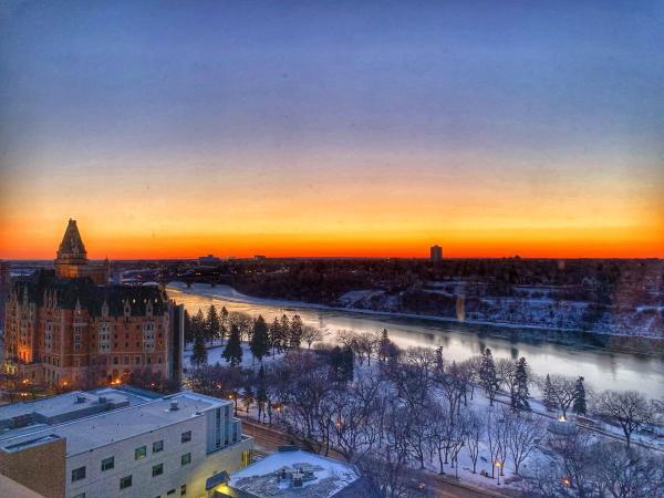 Delta Downtown sunrise view