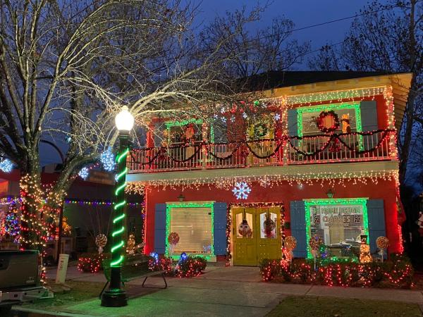 Olde Towne Slidell brightly decorated for Christmas.