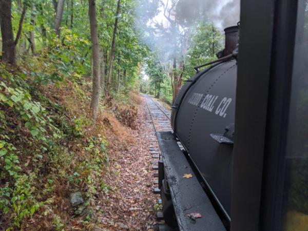 A train chugs down the tracks in Stewartstown.