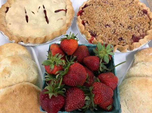 Fresh pies, biscuits and strawberries from Morgan's Half Acre Produce