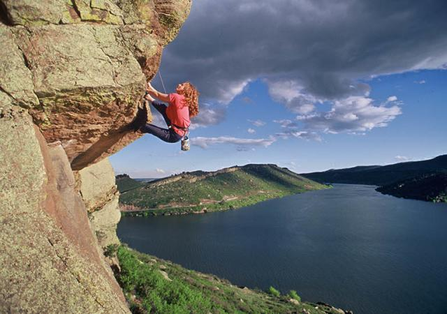 Rock Climber at Horsetooth Reservoir, Credit Tim O'Hara (9)