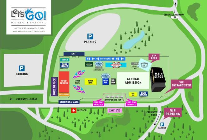 Stage layout of Let's Go Music Fest