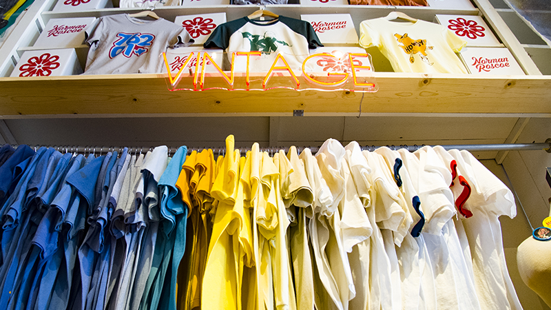Vintage T-shirts Hanging in the Interior of Norman Roscoe