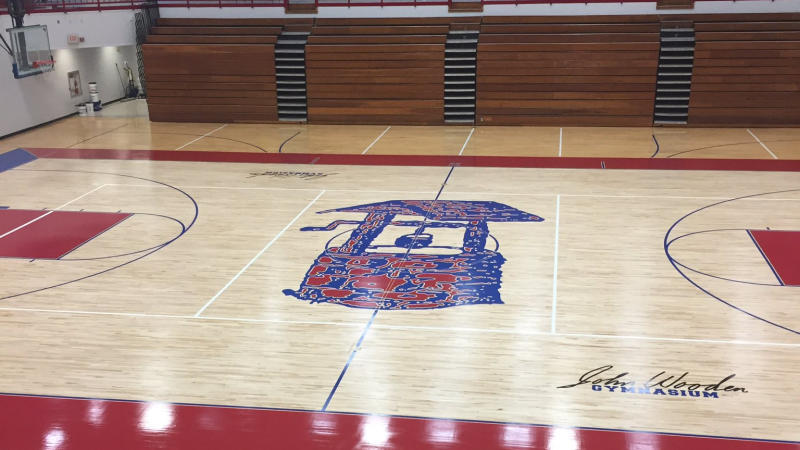 John Wooden Gymnasium at Martinsville High School houses more than 5,000 fans -  the name number of as its predecessor, Glenn Curtis Gymnasium.