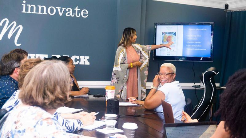Cindy Nanez of Diving Marketing Group making a presentation.