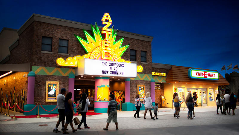 Night shot of marquee at Simpsons 4D at Broadway at the Beach, Myrtle Beach, SC