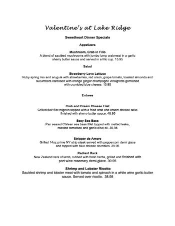 Lake Ridge Valentine's Day Menu