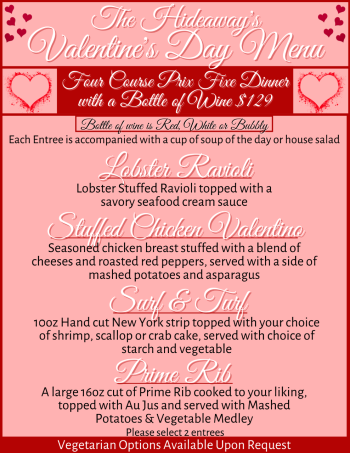 The Hideaway Valentine's Day Menu