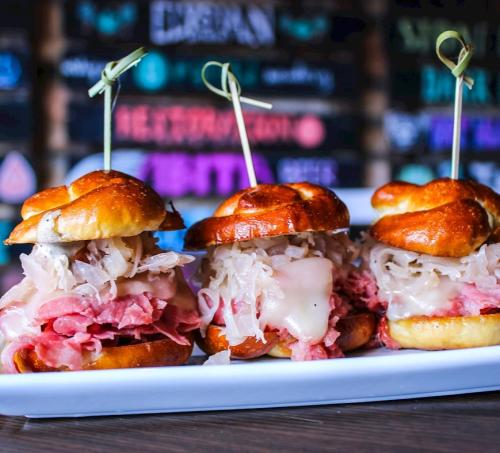 Set of Three Reuben Sliders from the Pint Room Dublin