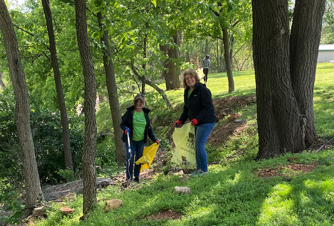 Staff Picking Up Trash for Clean Green Springfield