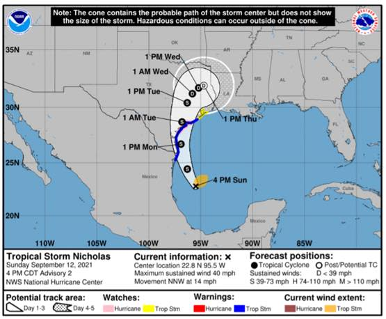 Tropical Storm Nicholas Tracking - September 12 at 4 PM