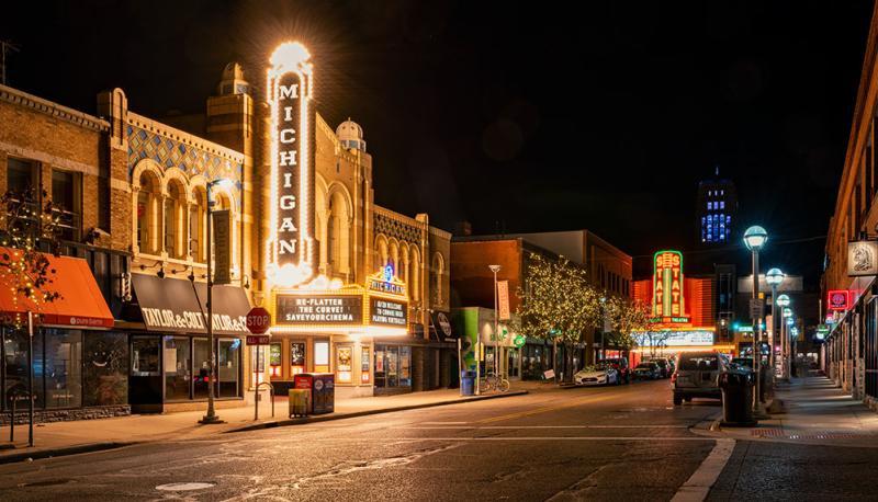 Historic Michigan Theater at night