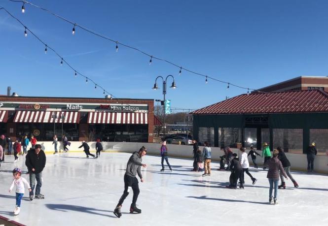 Skating at Glen Burnie Outdoor Ice Rink.