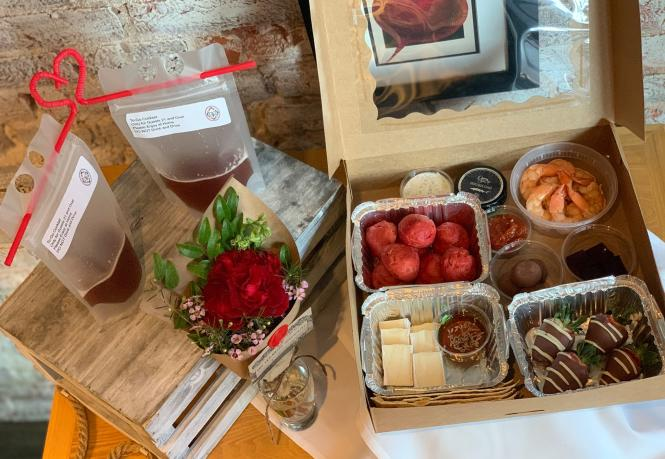 Preserve restaurant's Valentine's day grazing box for two comes with drinks to share.