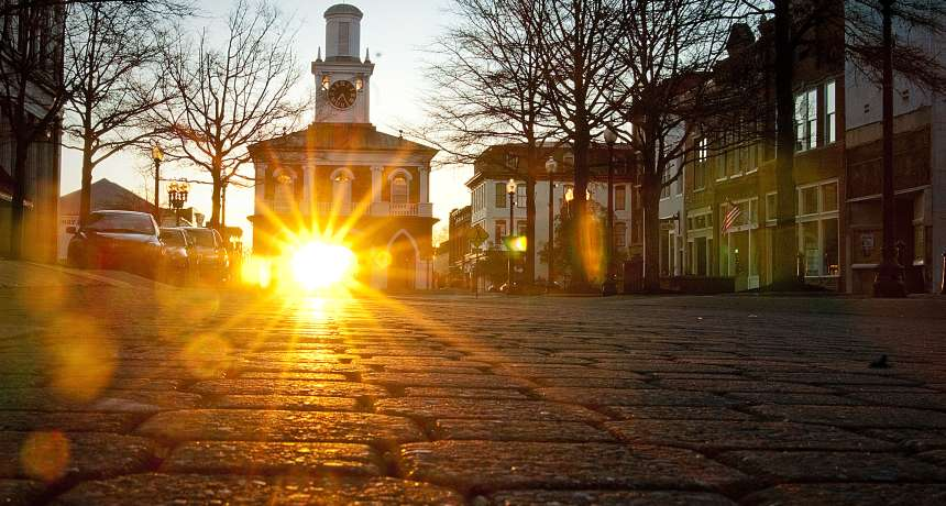 View of the historical Market House at sunrise in Fayetteville, Cumberland County North Carolina