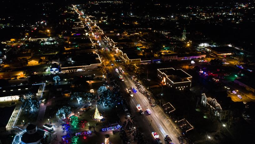 Aerial View Of Main Street at Christmas In Fredericksburg, TX