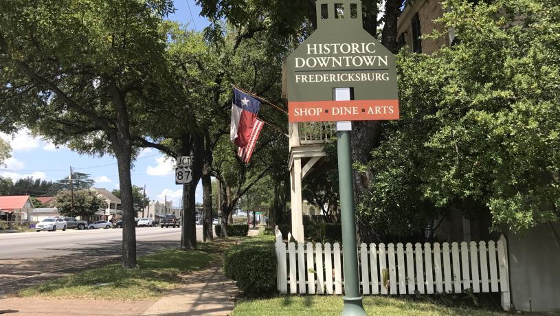 Main Street Signage In Fredericksburg, TX