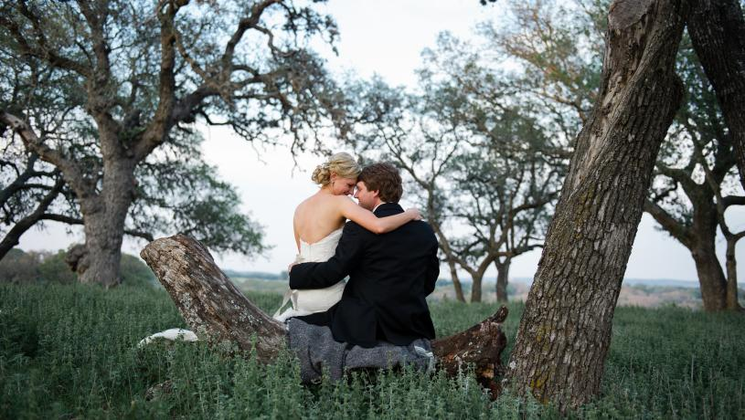 Bride and Groom on Branch Country