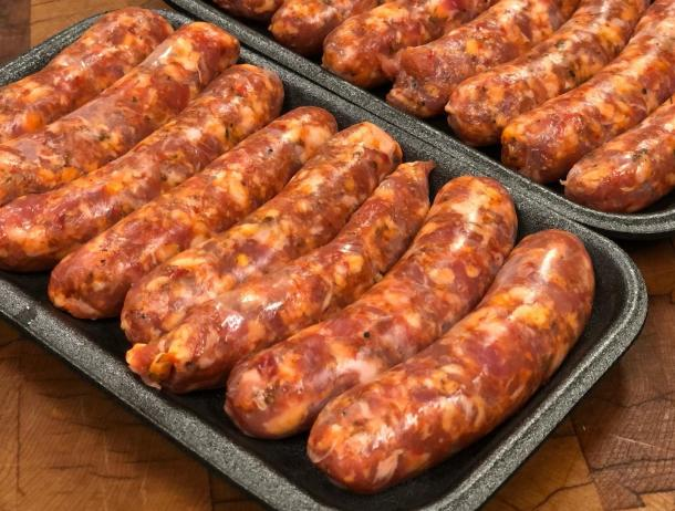 Sausages on tray