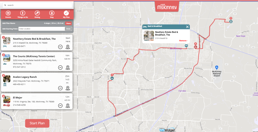 mapped out route on Plan Your Trip widget on website
