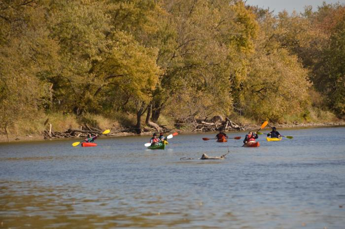 river kayaking in the fall