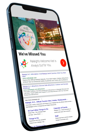 Visit Raleigh Paid ads on Cell phone