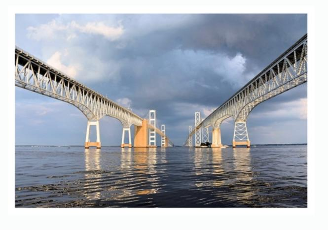 """Photograph by Monica Hawes - """"Between the Spans"""" of the Chesapeake Bay Bridge"""