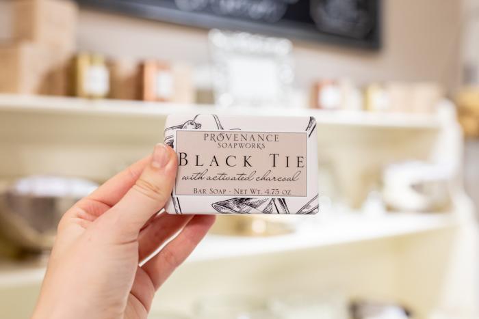 Men's black tie bar soap at Provenance Soapworks