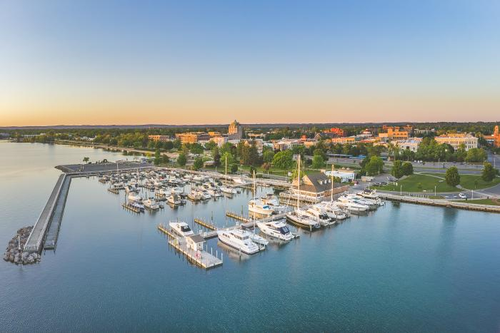 Aerial view of boats docked at Clinch Park Marina in Traverse City, MI