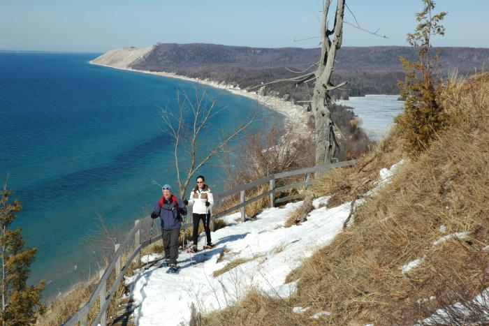 Snowshoeing at Sleeping Bear Dunes