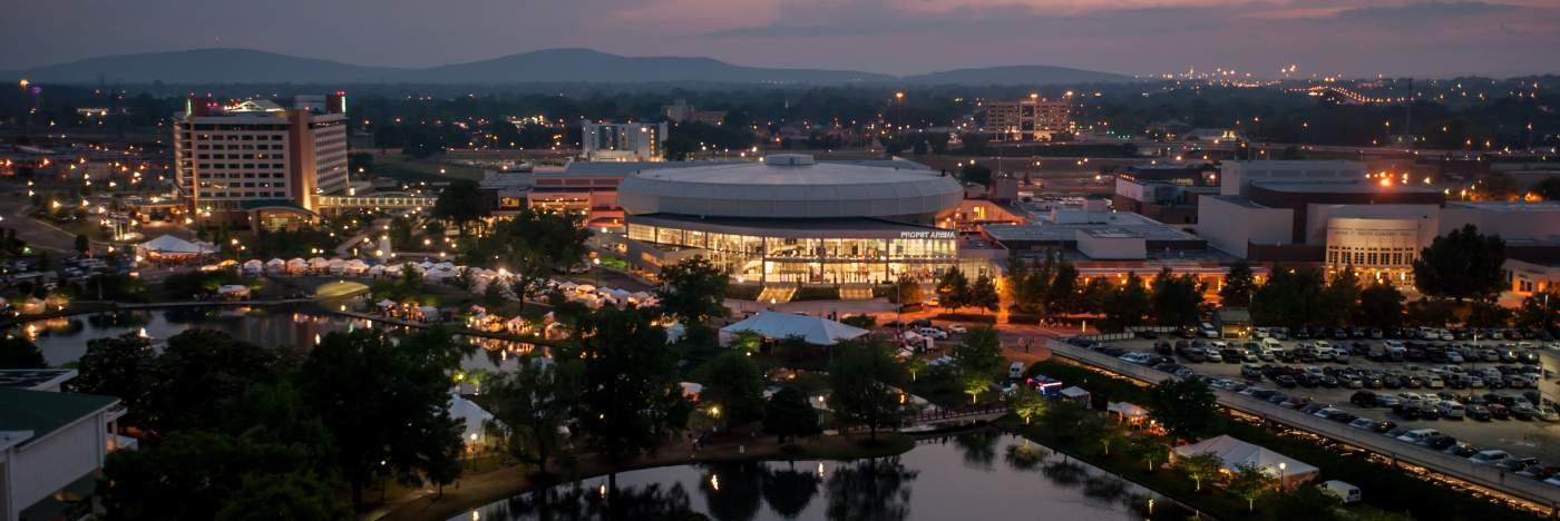 Aerial View Of Von Braun Center In Huntsville, AL