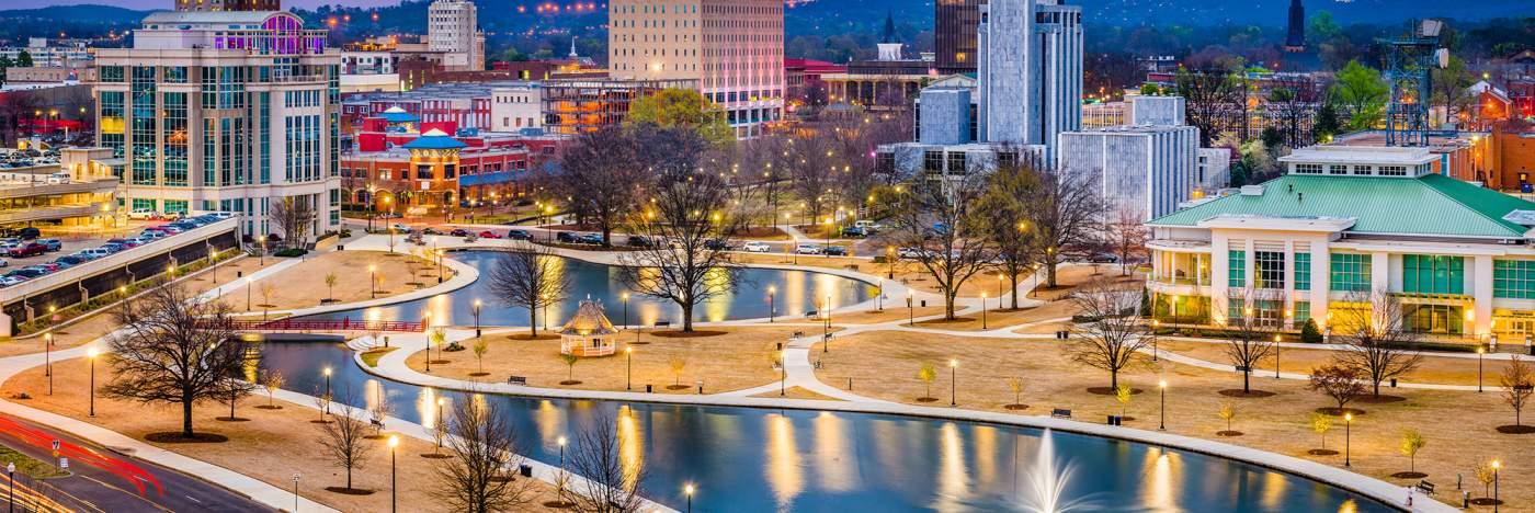Downtown Huntsville- winter - park lights