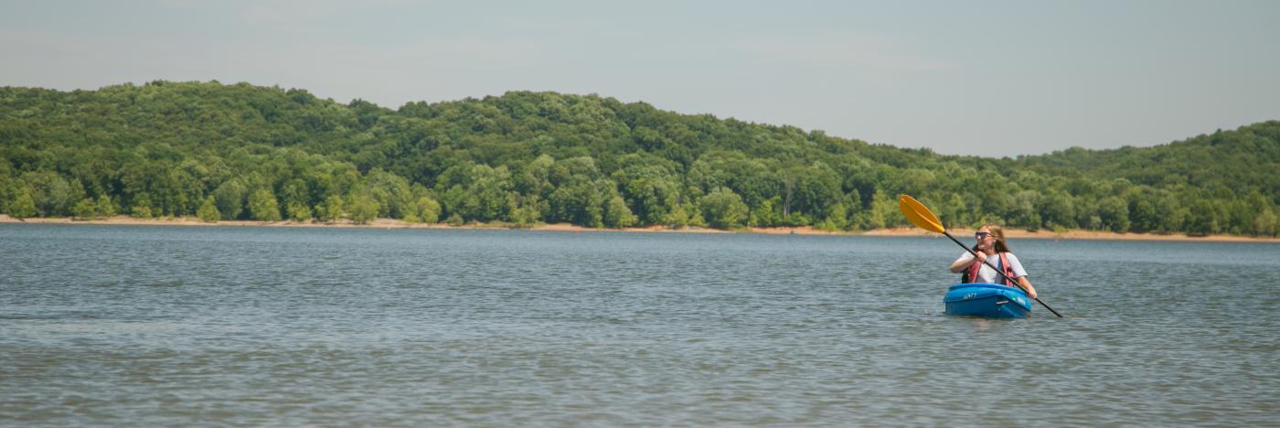 Kayaker on Monroe Lake in Bloomington