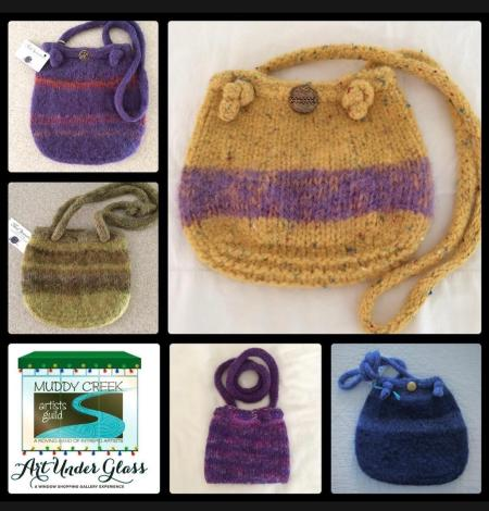 Knitted purses at the Art Under Glass Exhibit.