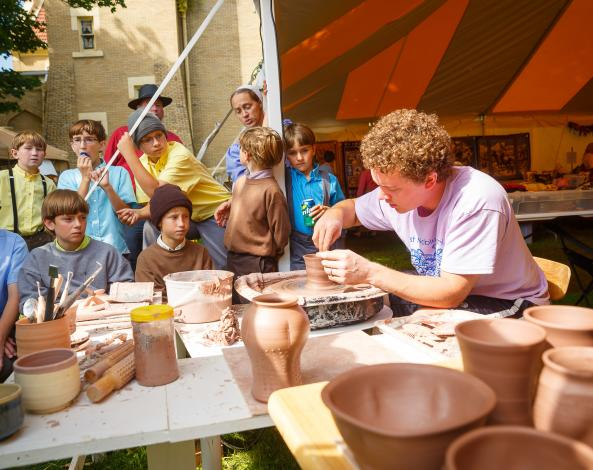 Middlebury Fest pottery making
