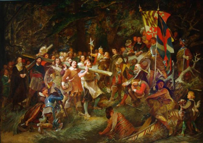 Painting depicting The Planting of the Colony of Maryland.