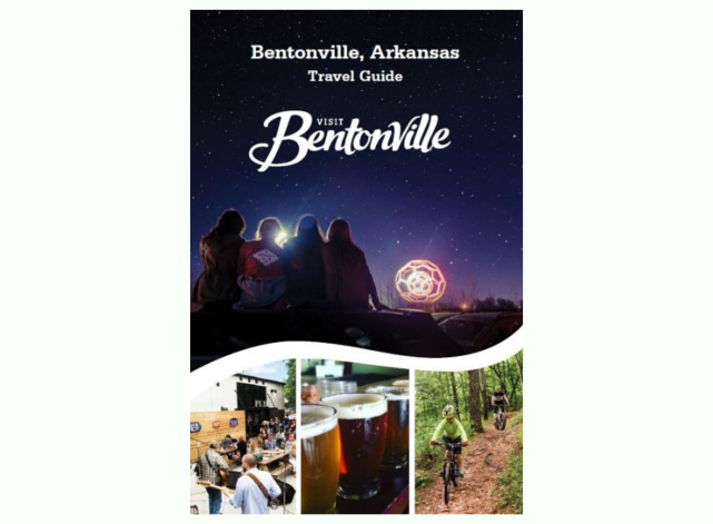 Front cover of Visit Bentonville Travel Guide for Bentonville Arkansas