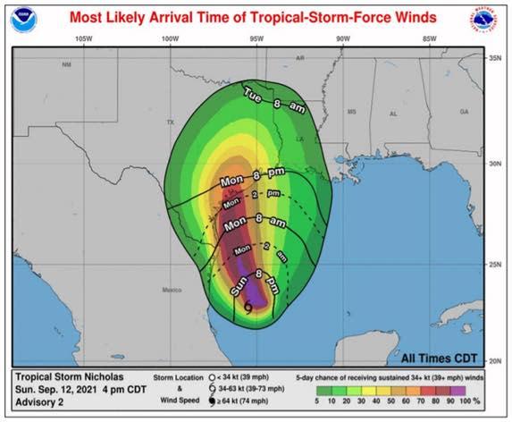Tropical Storm Nicholas Arrival - September 12 at 4 PM