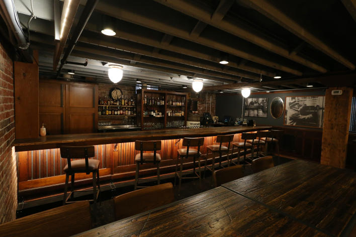 The bar at Ken's Speakeasy in Des Moines is decorated to look like a Prohibition-era bar.