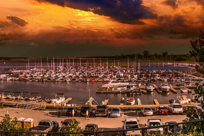 Boats docked at the Saylorville Lake Marina in Polk City, IA